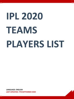 IPL 2020 Players List All Team