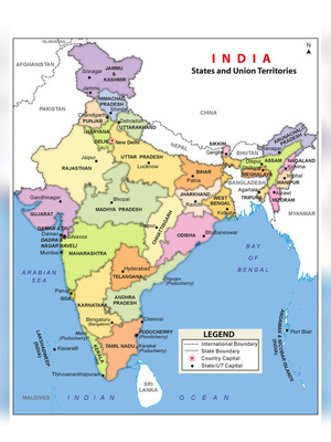 India Map with States & Capital