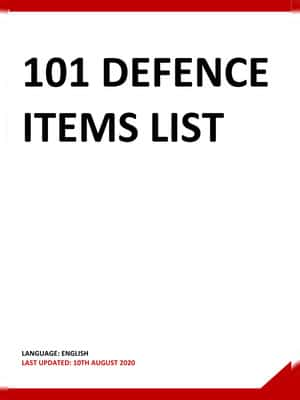 101 Defence Items List